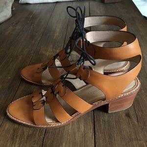 Loeffler Randall tan leather lace up sandals EUC